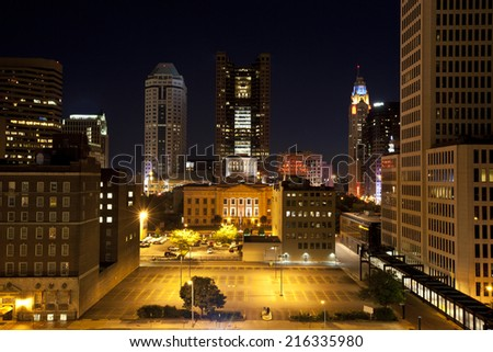 City of Columbus Ohio with the Statehouse in the foreground.   - stock photo