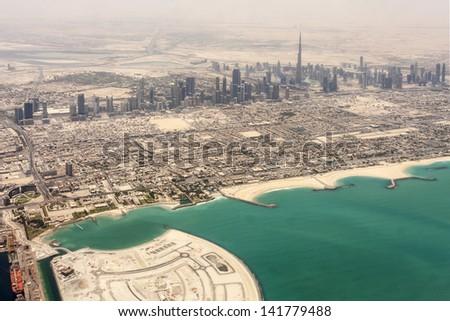 City of Dubai  -  Ariel view after sandstorm - stock photo