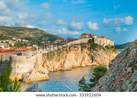 City of Dubrovnik, UNESCO site, old defense walls, fortress Bokar  - stock photo