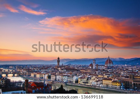 City of Florence at sunset, Italy - stock photo