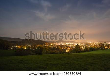 city of Freiburg at night  - stock photo