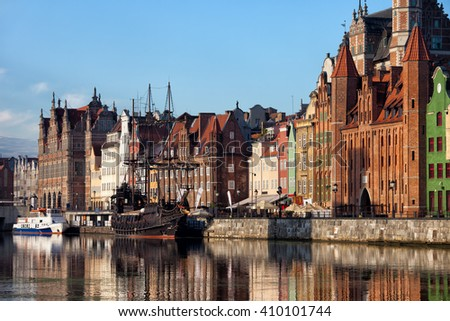 City of Gdansk in Poland, Old Town skyline from Motlawa River