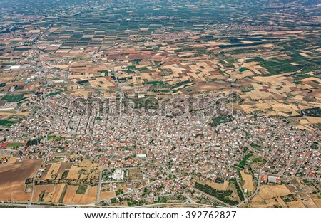 City of Giannitsa, Pella, Greece, aerial view