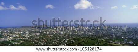 City of Honolulu and Diamond Head Volcano, Oahu, Hawaii