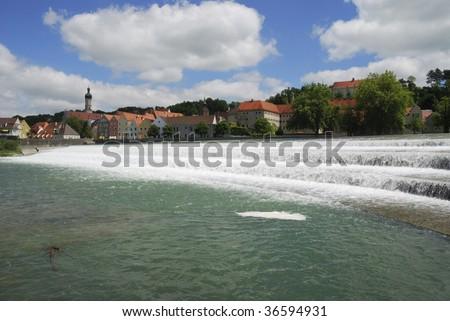 City of Landsberg at the River Lech (Bavaria, Germany). - stock photo