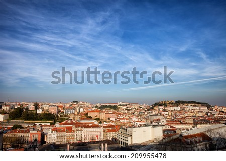 City of Lisbon at sunset in Portugal, view from above. - stock photo