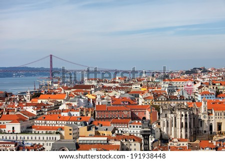 City of Lisbon in Portugal, view from above. - stock photo