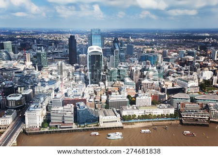 City of London and sunny day - stock photo