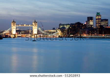 City of London and Tower Bridge - stock photo