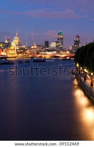 City of London at night - stock photo
