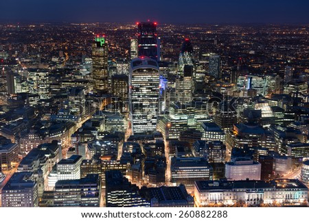 City of London at night ,London - stock photo