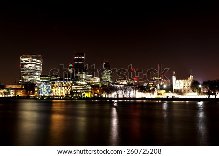 City of London at Night, one of the leading centers of global finance.This view includes Tower 42 Gherkin,Willis Building, Stock Exchange Tower and Lloyd`s of London and Walkie Talkie.