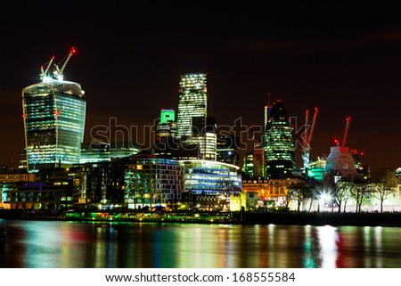 City of London at Night, one of the leading centres of global finance.This view includes Tower 42 Gherkin,Willis Building, Stock Exchange Tower and Lloyd`s of London and Walkie Talkie. - stock photo