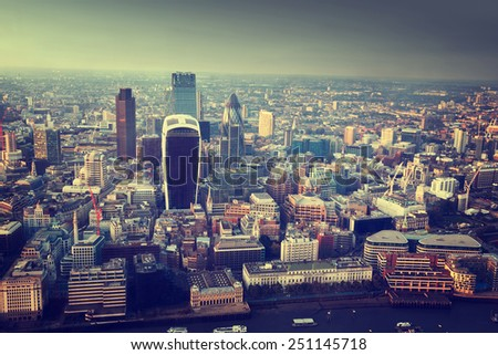 City of London At Sunset - stock photo