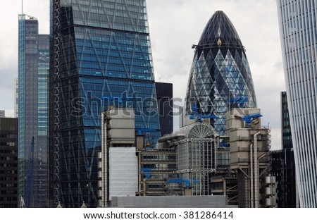 CITY OF LONDON, ENGLAND, 8 AUG 2015. Editorial Photo from Monument of modern skyscrapers; The Cheesegrater (Leadenhall), Lloyd's Building, Gherkin (30 St Mary Axe), The Walkie Talkie (20 Fenchurch St) - stock photo