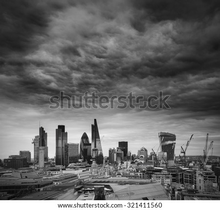 City of London financial district square mile skyline  - stock photo