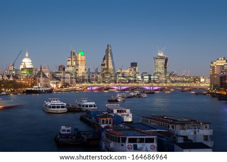 City of London, Millennium bridge and St. Paul's cathedral, Business office, England, UK  - stock photo