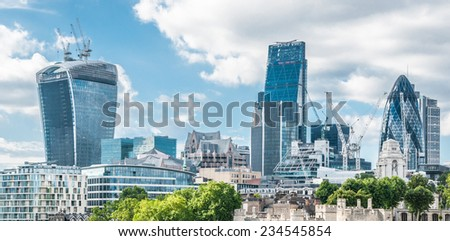 City of London one of the leading centers of global finance - stock photo