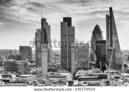 City of London one of the leading centers of global finance. - stock photo