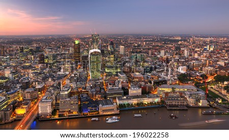 City of London one of the leading centres of global finance - stock photo