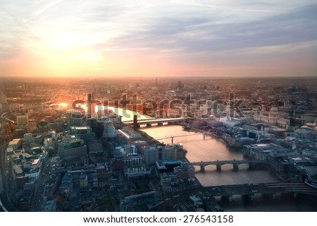 City of London panorama in sunset. River Thames and bridges - stock photo