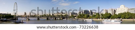 City of London Panoramic view from Waterloo Brige. London eye, Big Ben and Houses of Parliament.
