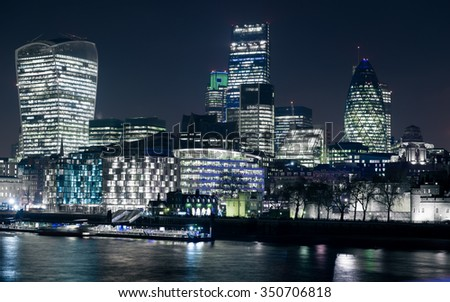 City of London seen from Tower Bridge in London, UK. (selective color) - stock photo
