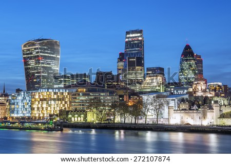 City of London Skyline At Night - stock photo
