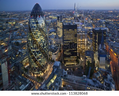 City of London Skyline At Sunset - stock photo