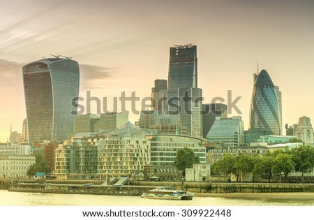 City of London - Skyline at sunset. - stock photo