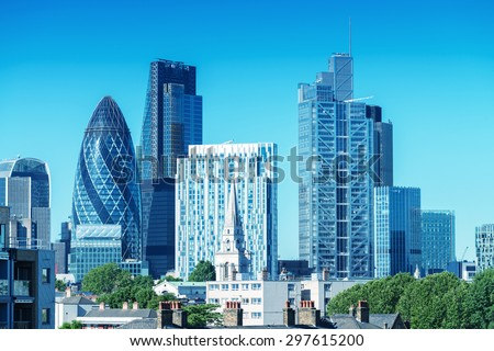City of London. Skyline on a beautiful summer day. - stock photo
