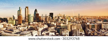 City of London the leading centres of global finance. This view includes Tower 42, Gherkin,Willis Building, Stock Exchange Tower, Lloyd`s of London, Tower Bridge and Canary Wharf at the background. - stock photo