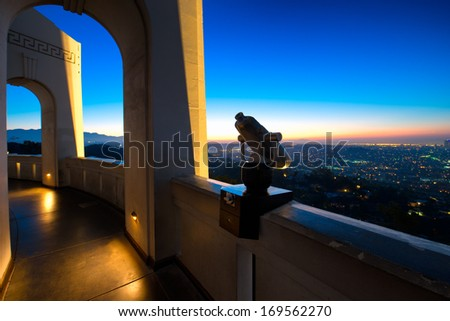 City of Los Angeles as seen from the Griffith Observatory at dusk, Los Angeles County, California, USA - stock photo