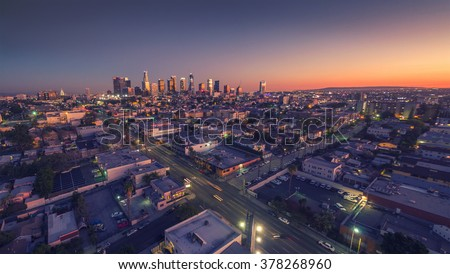 City of Los Angeles cityscape skyline scenic aerial view at sunset. - stock photo