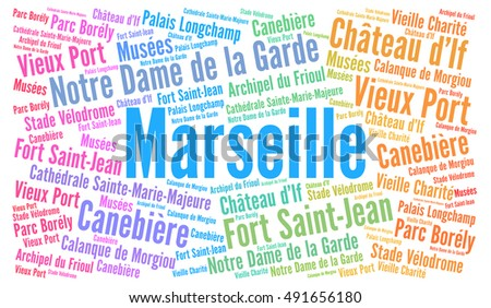 City of Marseille in France word cloud concept