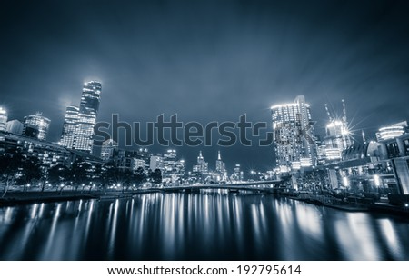 City of Melbourne at night - stock photo