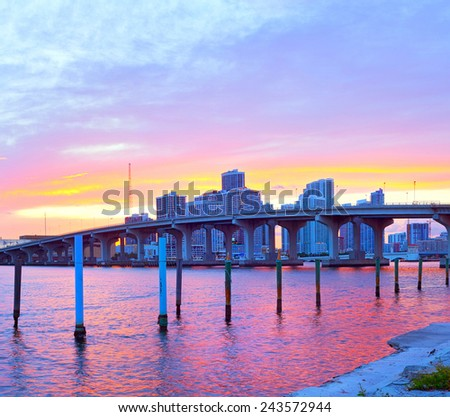 CIty of Miami Florida, summer sunset panorama   - stock photo