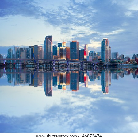 City of Miami Florida, USA summer sunset panorama  with reflections in Biscayne Bay - stock photo