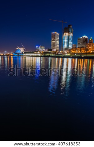 City of Milwaukee Wisconsin at Night vertical composition