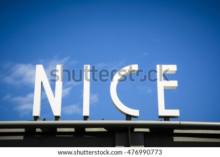 City of Nice sign on French Riviera