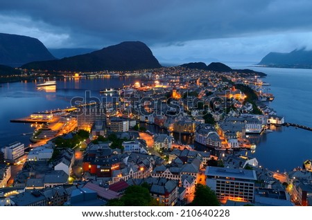 city of Norway by night - stock photo