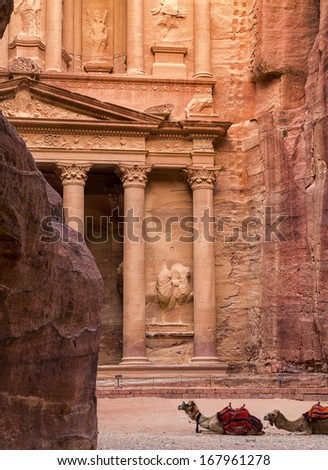 City of Petra in Jordan, picture taken in morning hours - stock photo
