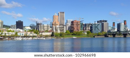 City of Portland Oregon skyline panorama.