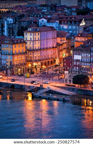 City of Porto in Portugal, historical centre in the evening. - stock photo