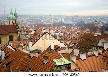 City of Prague on a cold and foggy gray day in December - stock photo