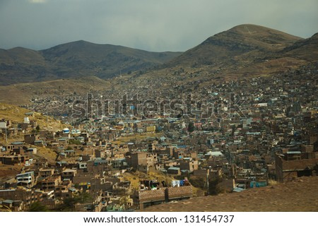 City of Puno, Peru from mountainous overlook