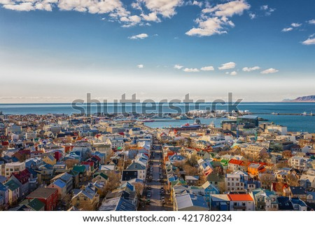 City of Reykjavik from above, Capital of Iceland - stock photo