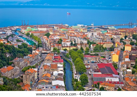 City of Rijeka aerial view, Kvarner, Croatia - stock photo