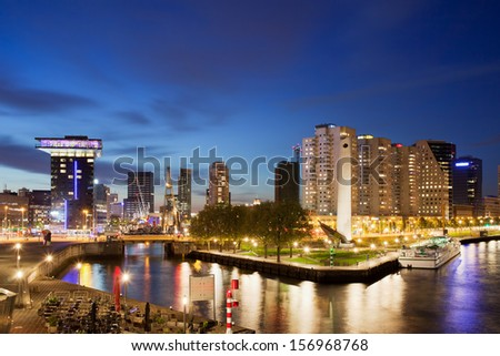 City of Rotterdam cityscape at night in Netherlands, South Holland province. - stock photo