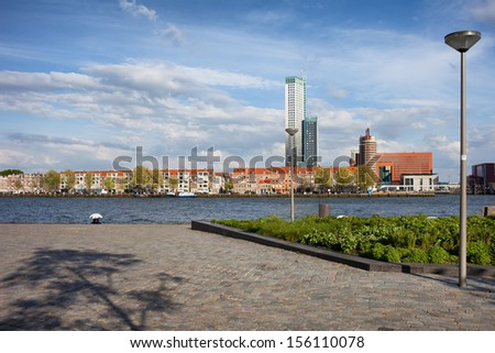 City of Rotterdam skyline and promenade along Nieuwe Maas (New Meuse) river in Netherlands, South Holland province. - stock photo